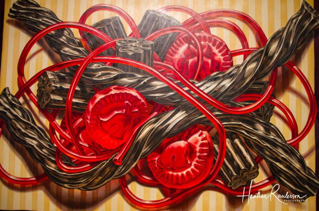Black and Red Licorice Painting at the Pizzagalli Center for Art and Education
