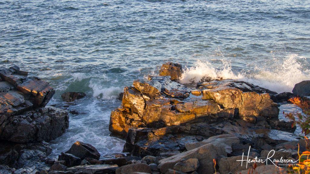 Water crashing on the rocks along the Marginal Way