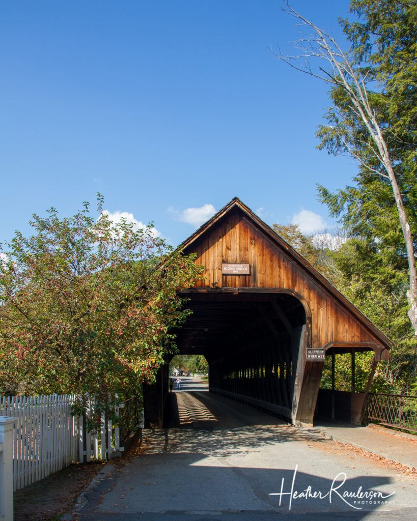 Entrance to Middle Covered Bridge in Woodstock, Vermont