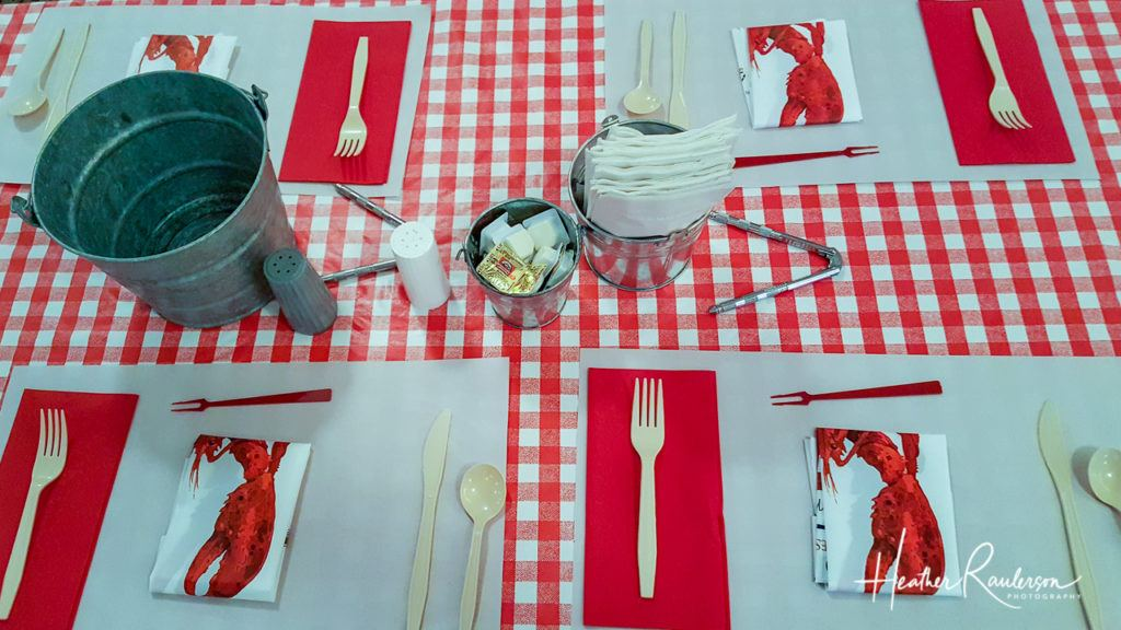 The place setting for Fosters Clambake