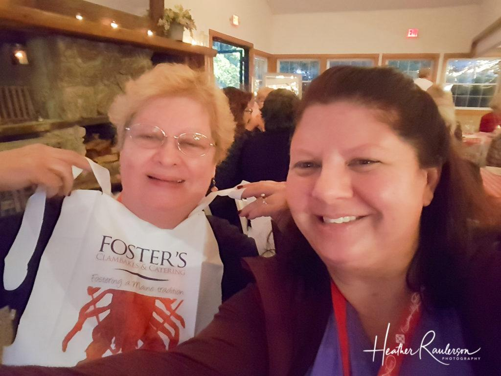 Mom and Heather waiting for dinner at Fosters Clambake