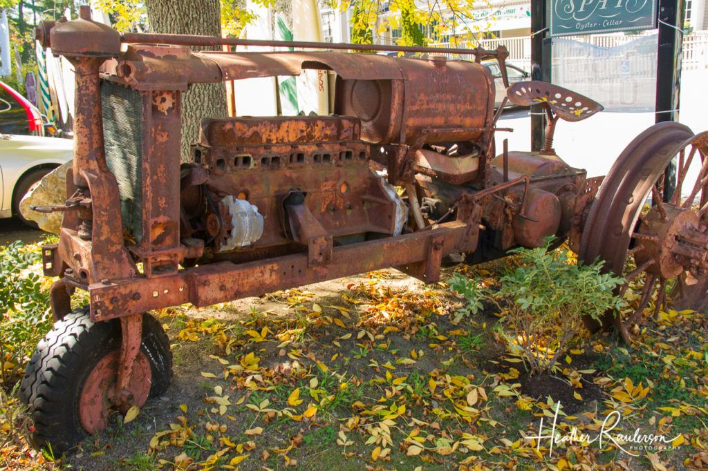 Old rusted tractor in Kennebunkport