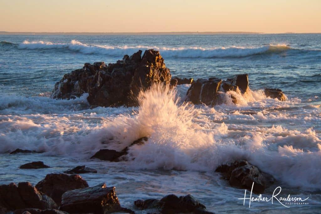 Slow Shutter Speed to capture waves hitting rocks