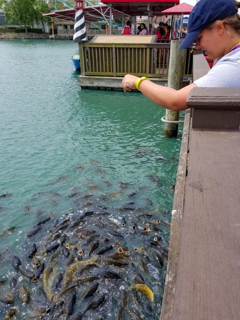 Kayla feeding the fish at Broadway at the Beach
