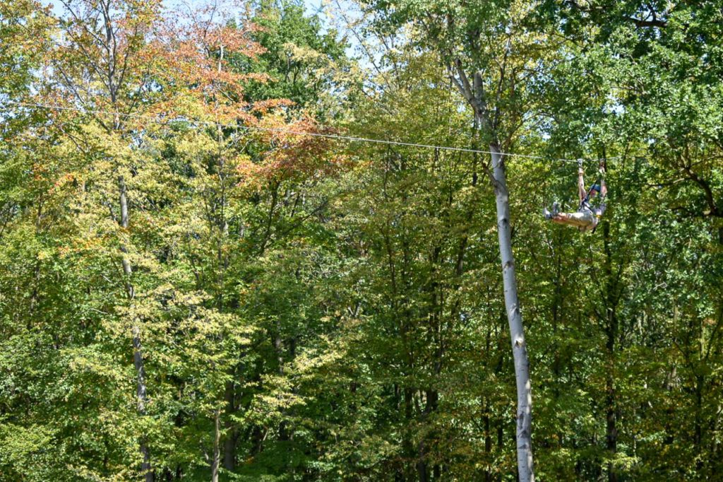 Heather ziplining through the trees