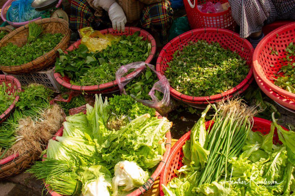 Bowls of Greens at Hoi An Market