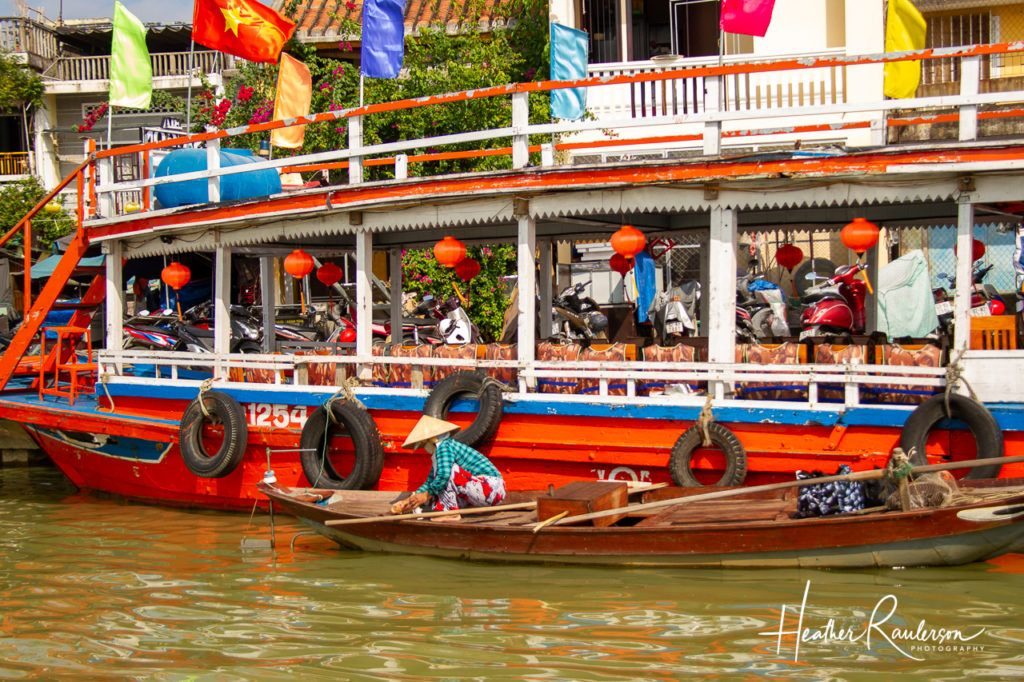 Colorful boat on the River in Hoi An