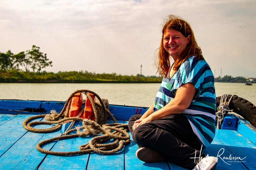 Heather on a boat in Hoi An