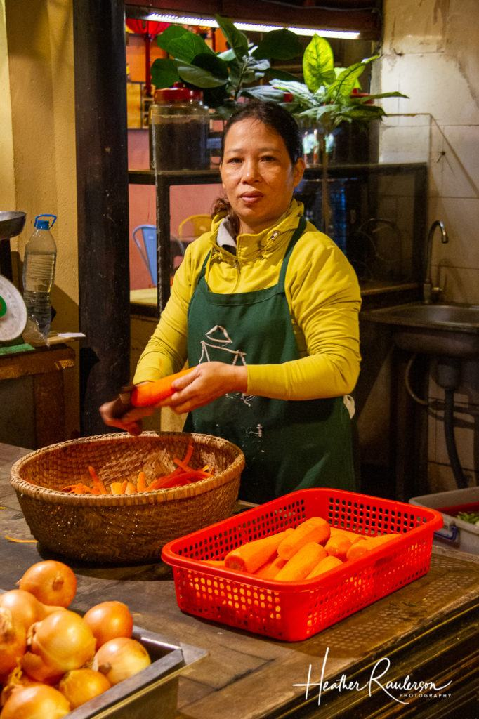 Cutting Carrots at Ms. Vy's Market Restaurant