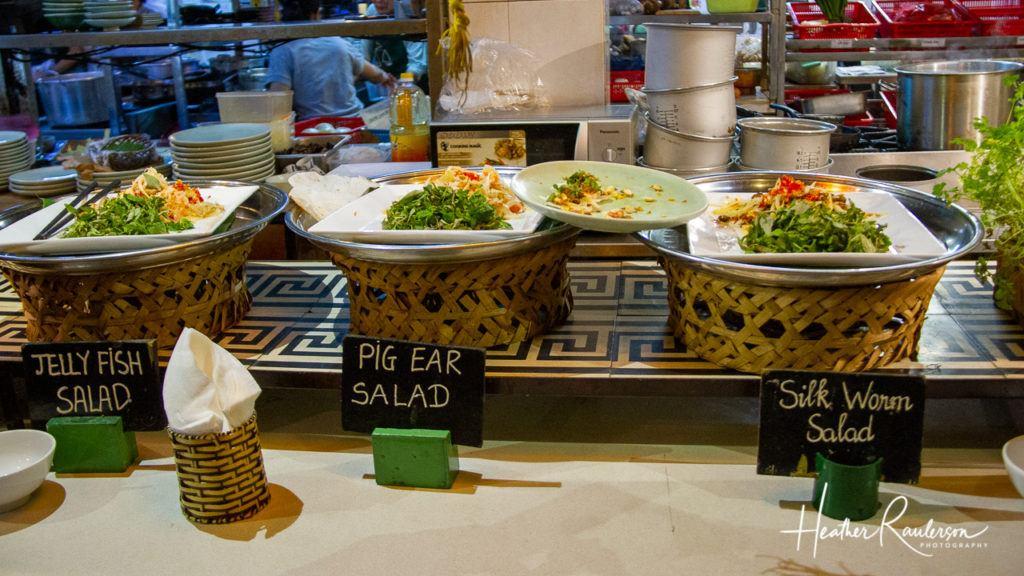 Weird Wonderful Food – Jelly Fish Salad, Pig Ear Salad, and Silk Worm Salad