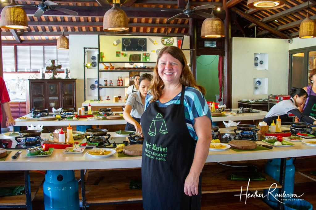 Heather in Ms. Vy's Cooking School in Hoi An