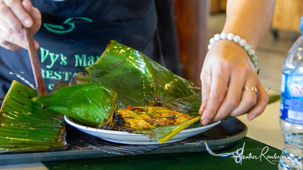 Opening the Grilled Banana Leaf