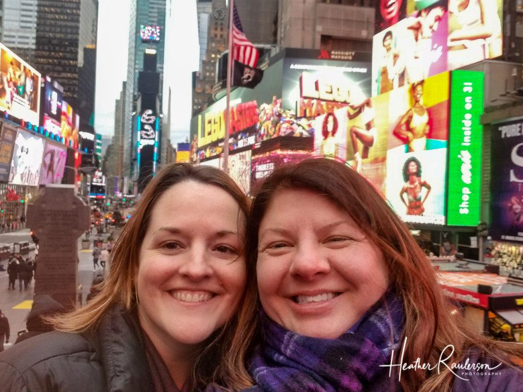 Heather and Jennifer in Times Square, New York City