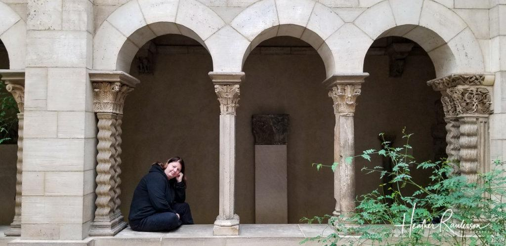 Heather in Deep Thought at The Cloisters in New York City