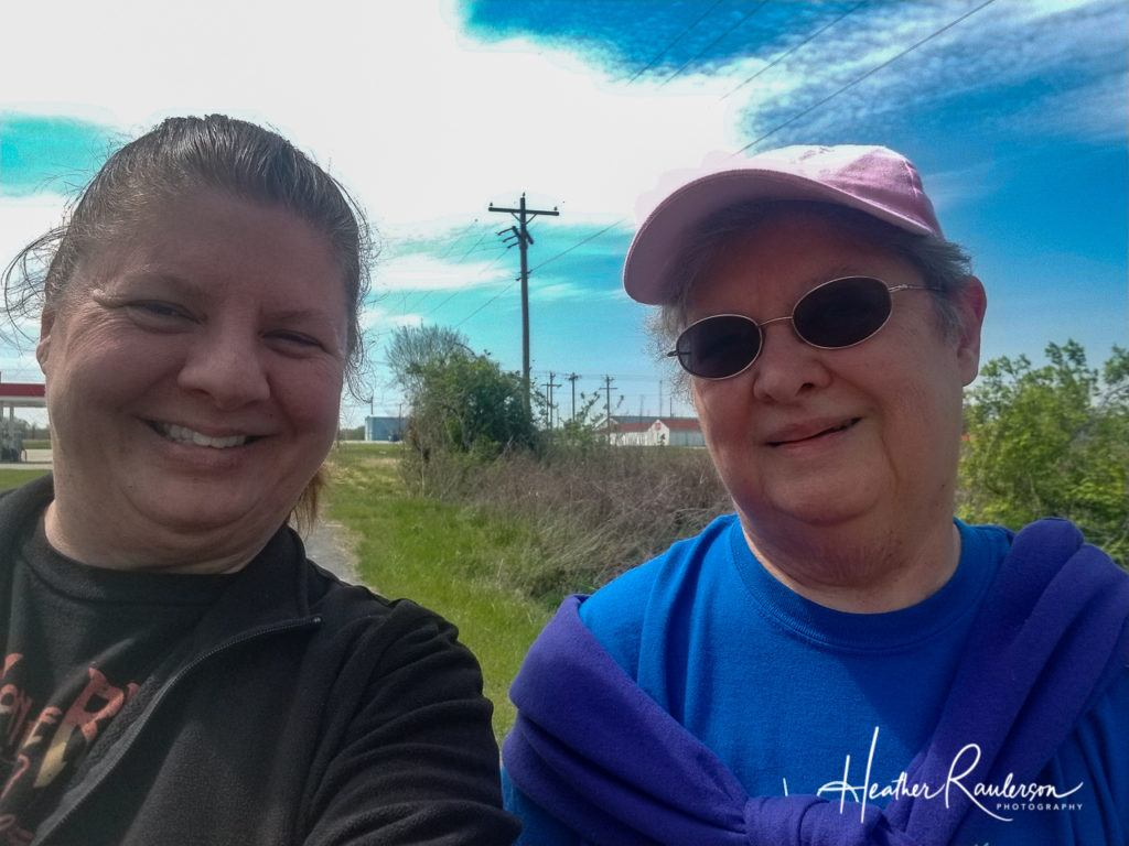 Heather and her mom on a walk in Illinois