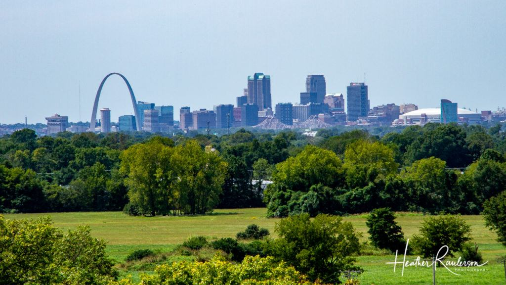 Skyline of St. Louis from the Monks Mound at Cahokia Mounds State Historic Site