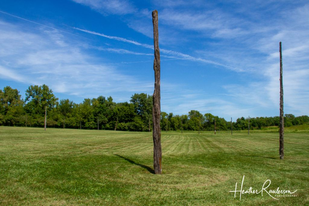 The wood poles at Woodhenge at Cahokia Mounds State Historic Site