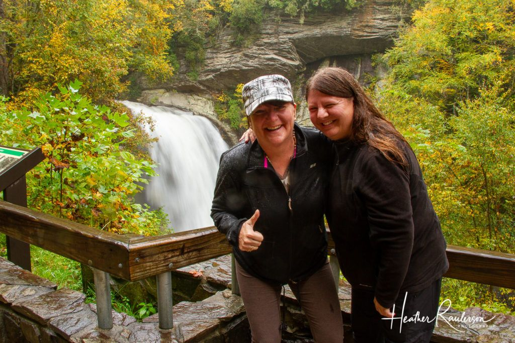 Heather and Betty at Looking Glass Falls in North Carolina