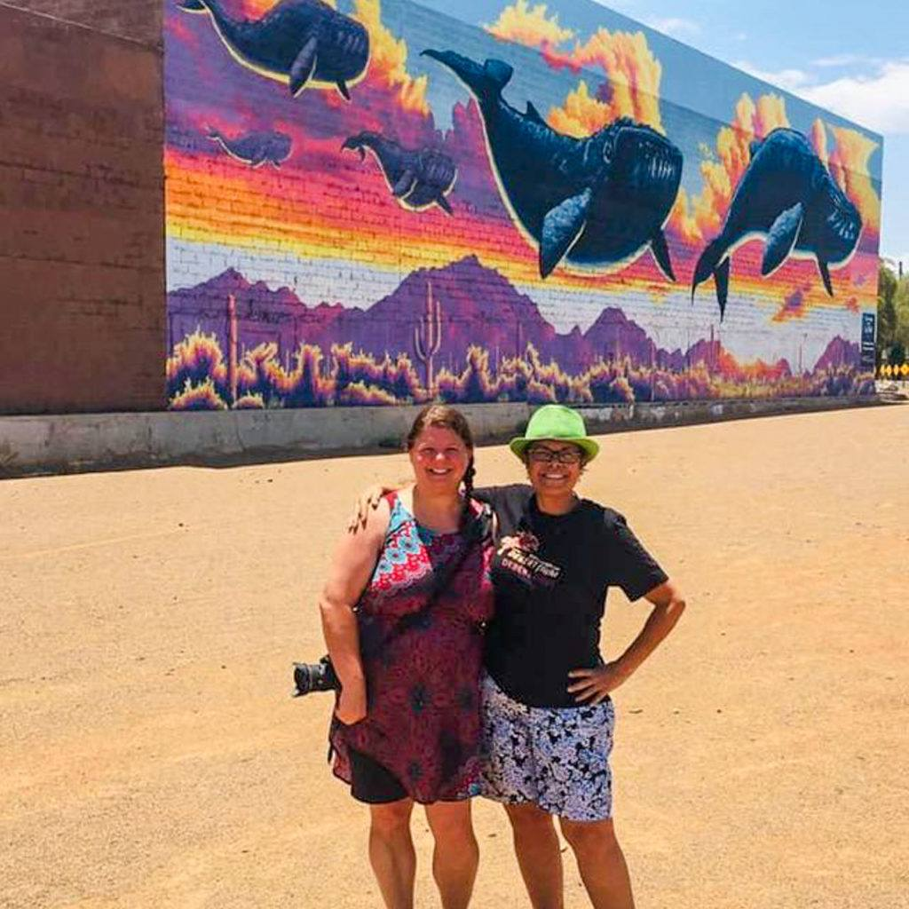 Heather and Janet touring Street Art in Tucson