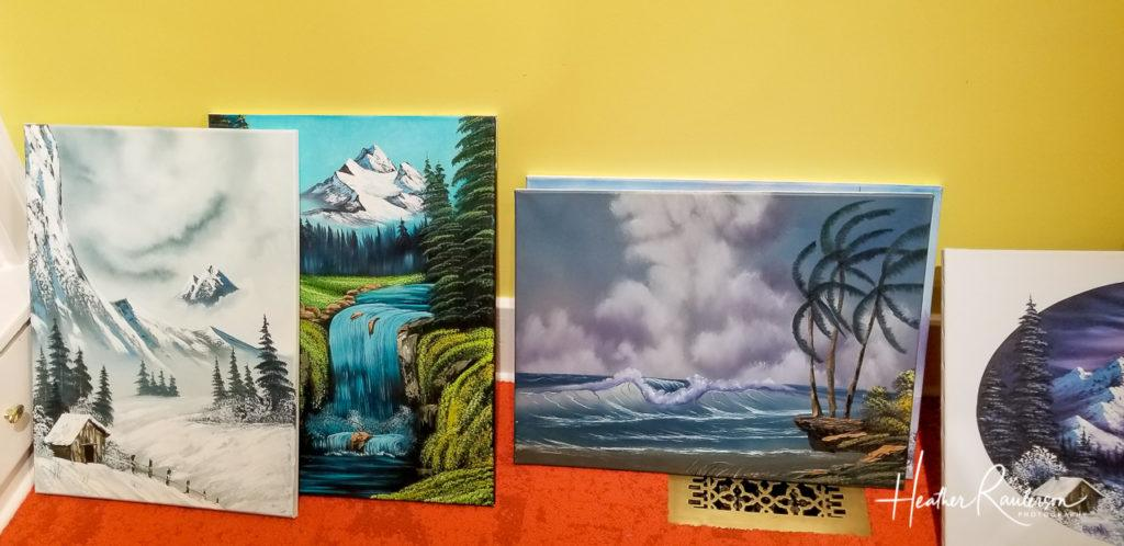 Paintings from students of Bob Ross