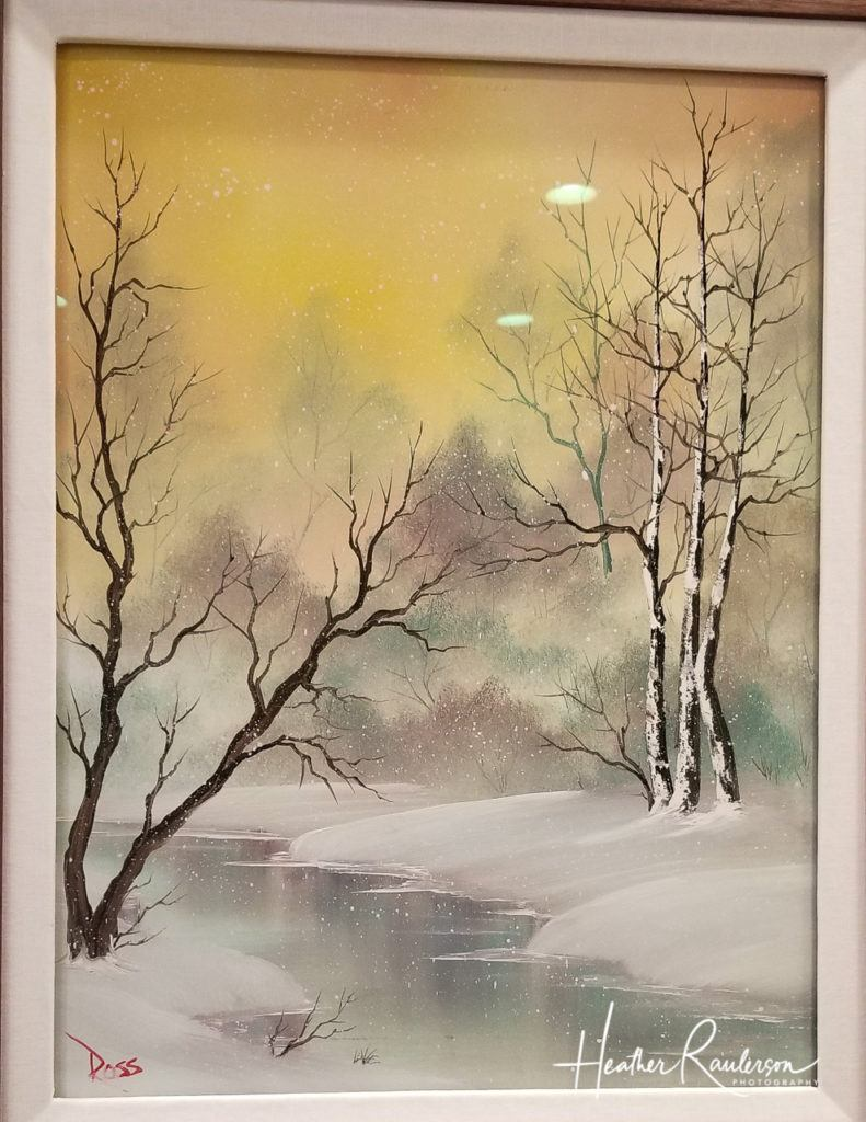 One of Bob Ross' winter landscape paintings