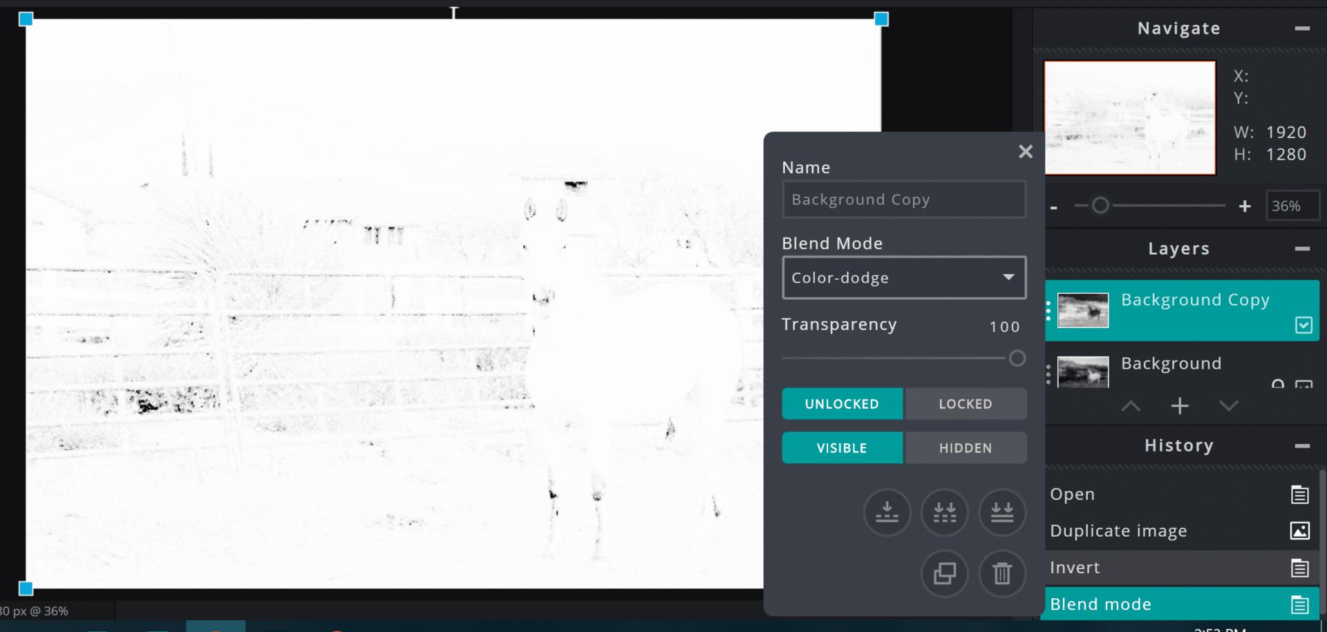 Result of Color-dodge in Pixlr E